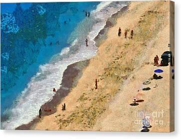 Egremni Beach In Lefkada Island Canvas Print by George Atsametakis