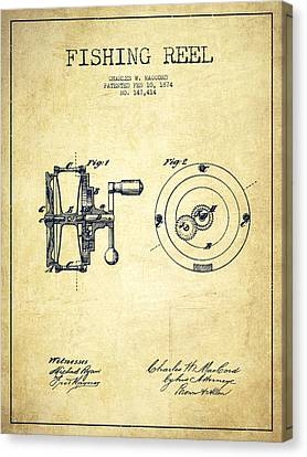 Catch Canvas Print - Fishing Reel Patent From 1874 by Aged Pixel