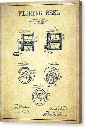 Reel Canvas Print - Fishing Reel Patent From 1892 by Aged Pixel