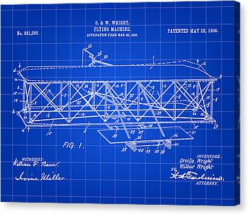 Flying Machine Patent 1903 - Blue Canvas Print