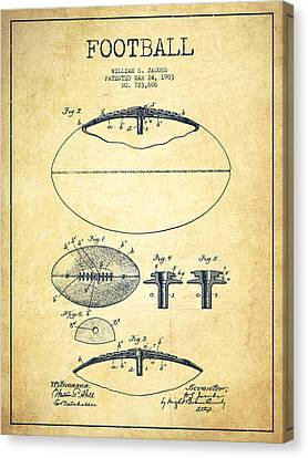 Football Patent Drawing From 1903 Canvas Print by Aged Pixel