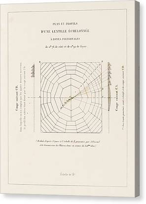 Plate 1 Canvas Print - Fresnel On Lighthouse Lenses by King's College London