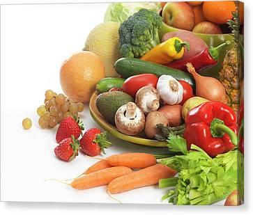 Fruit And Vegetables Canvas Print by Tek Image