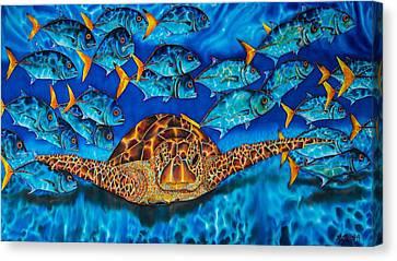 Sea Turtle And Jacks Canvas Print by Daniel Jean-Baptiste