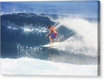 Hawaii, Oahu, North Shore, Pipeline, Surfer, Riding A Wave. Canvas Print by Vince Cavataio