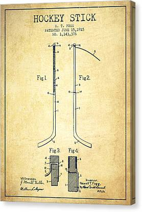 Hockey Stick Patent Drawing From 1915 Canvas Print