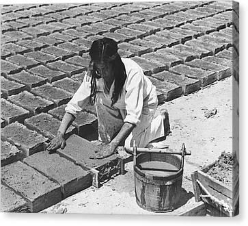 Indians Making Adobe Bricks Canvas Print