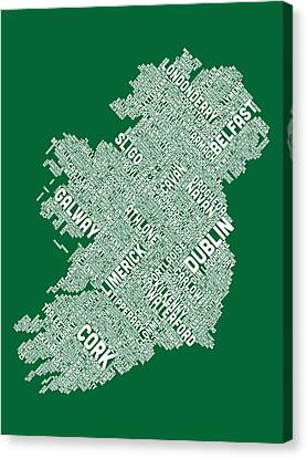 St Canvas Print - Ireland Eire City Text Map by Michael Tompsett