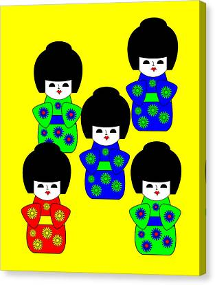 5 Japanese Dolls On Yellow Canvas Print by Asbjorn Lonvig