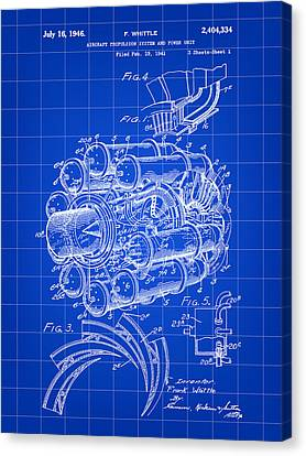 Jet Engine Patent 1941 - Blue Canvas Print by Stephen Younts