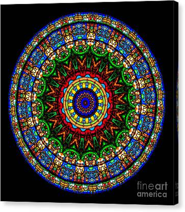 Stained Glass Canvas Print - Kaleidoscope Stained Glass Window Series by Amy Cicconi