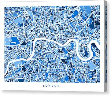 London England Street Map Canvas Print by Michael Tompsett