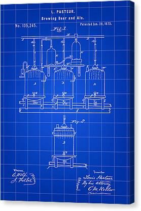 Louis Pasteur Beer Brewing Patent 1873 - Blue Canvas Print
