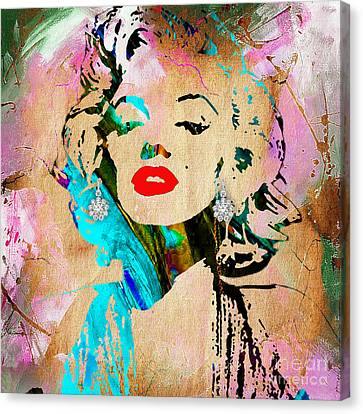 Hollywood Canvas Print - Marilyn Monroe Diamond Earring Collection by Marvin Blaine