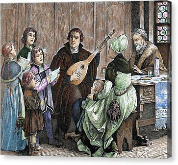 Woman Playing A Lute Canvas Print - Martin Luther (eisleben, 1483 by Prisma Archivo