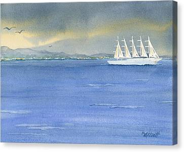 5 Masted Schooner Canvas Print by Marsha Elliott