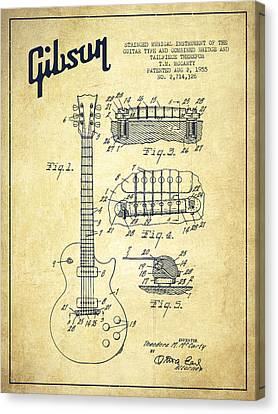 Mccarty Gibson Les Paul Guitar Patent Drawing From 1955 - Vintage Canvas Print by Aged Pixel