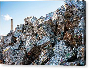 Metal Cans At A Recycling Centre Canvas Print by Peter Menzel