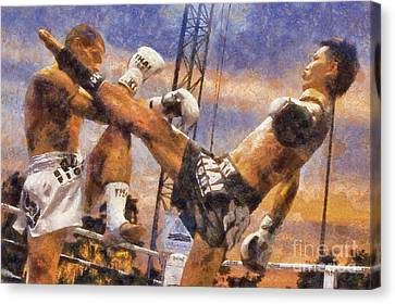 Muay Thai Arts Of Fighting Canvas Print by Rames Ratyantarakor