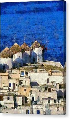 Mykonos Town Canvas Print by George Atsametakis