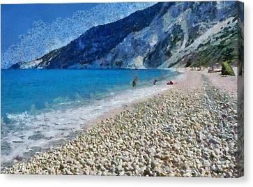 Myrtos Beach In Kefallonia Island Canvas Print