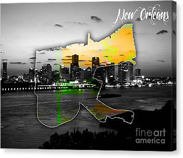 New Orleans Map And Skyline Watercolor Canvas Print by Marvin Blaine