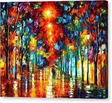Night Park Canvas Print by Leonid Afremov
