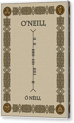 Canvas Print featuring the digital art O'neill Written In Ogham by Ireland Calling