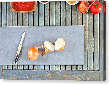 Wooden Bowl Canvas Print - Onions by Tom Gowanlock