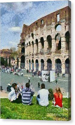 Vacation Canvas Print - Outside Colosseum In Rome by George Atsametakis