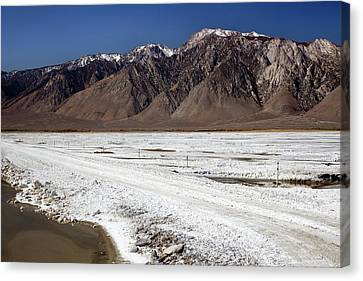 Drain Canvas Print - Owens Lake Re-irrigation by Jim West