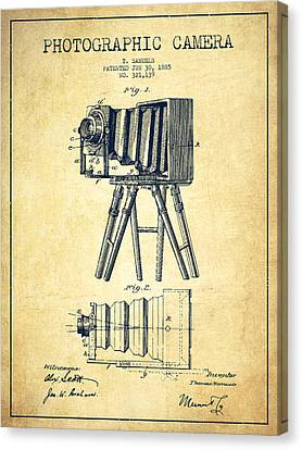 Camera Canvas Print - Photographic Camera Patent Drawing From 1885 by Aged Pixel