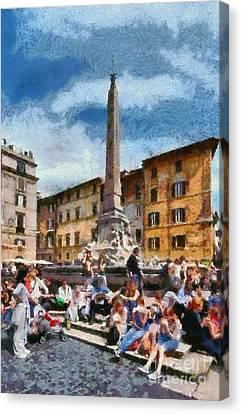 Piazza Della Rotonda In Rome Canvas Print by George Atsametakis