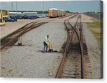Rail Yard Canvas Print by Jim West