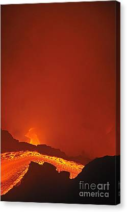 River Of Molten Lava Flowing To The Sea Canvas Print by Sami Sarkis