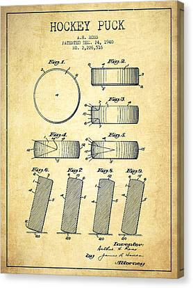 Roll Prevention Hockey Puck Patent Drawing From 1940 Canvas Print
