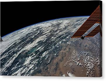 Satellite View Canvas Print - Satellite View Of Planet Earth Showing by Panoramic Images