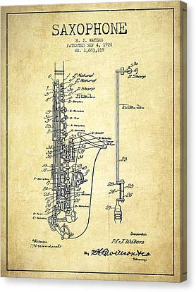 Patents Canvas Print - Saxophone Patent Drawing From 1928 by Aged Pixel