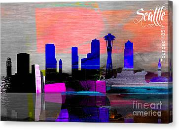 Seattle Skyline Watercolor Canvas Print by Marvin Blaine