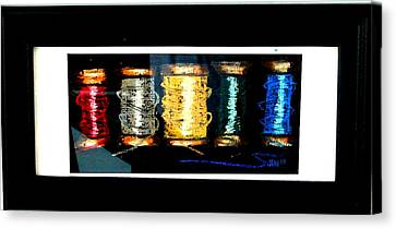 Canvas Print featuring the drawing 5 Spools by Joseph Hawkins