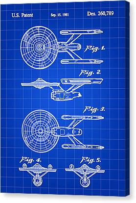 Star Trek Uss Enterprise Toy Patent 1981 - Blue Canvas Print by Stephen Younts