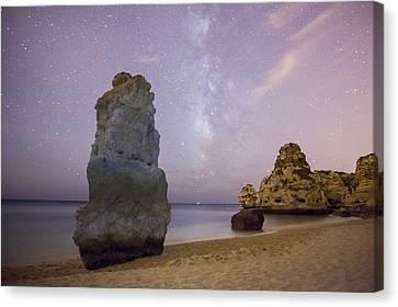Starry Sky At Praia Da Marinha Canvas Print