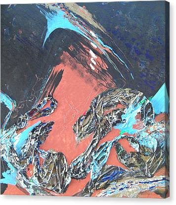 Turquoise And Rust Canvas Print - 5 Tears From The Bronze Dragon by Kathleen Dentinger