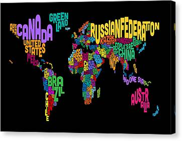 World Map Canvas Print - Text Map Of The World Map by Michael Tompsett