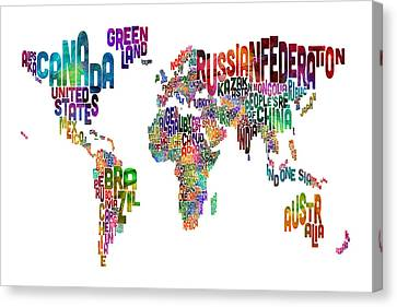 World Map Canvas Print - Text Map Of The World by Michael Tompsett