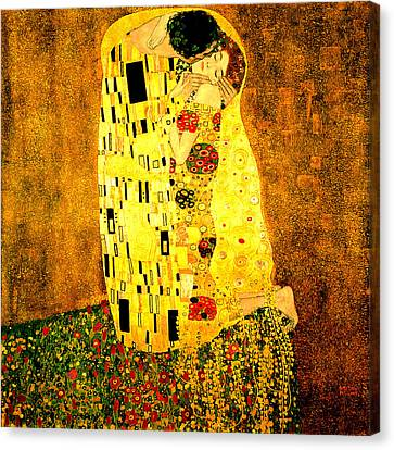 Canvas Print featuring the digital art The Kiss by Gustav Klimt