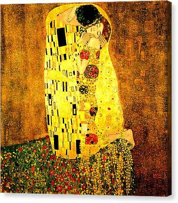 Canvas Print featuring the digital art The Kiss by Gustav Klimt