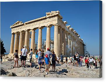 Tourists In Acropolis Of Athens In Greece Canvas Print by George Atsametakis