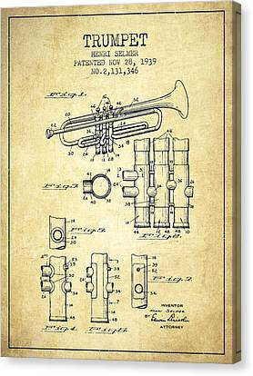 Trumpet Patent From 1939 - Vintage Canvas Print by Aged Pixel