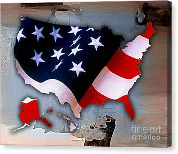 United States Map Canvas Print by Marvin Blaine
